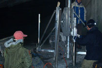 Drilling in the Dobšinská Ice Cave for determination of ice thickness, age and geochemical composition (Photo: J. Zelinka)